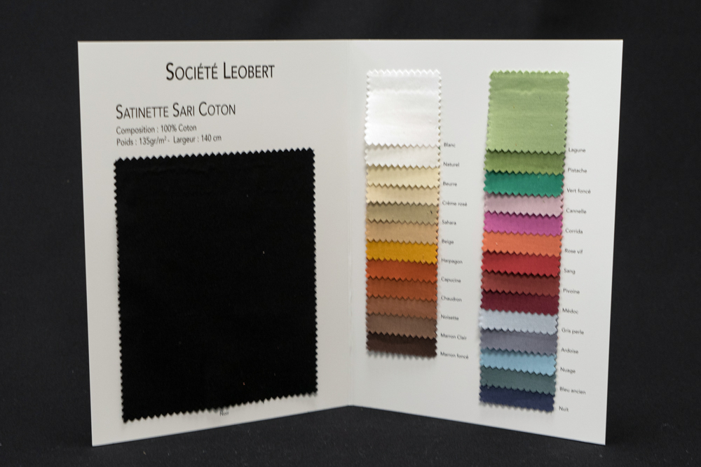 Plaquette coloris satinette SARI 100 COTON