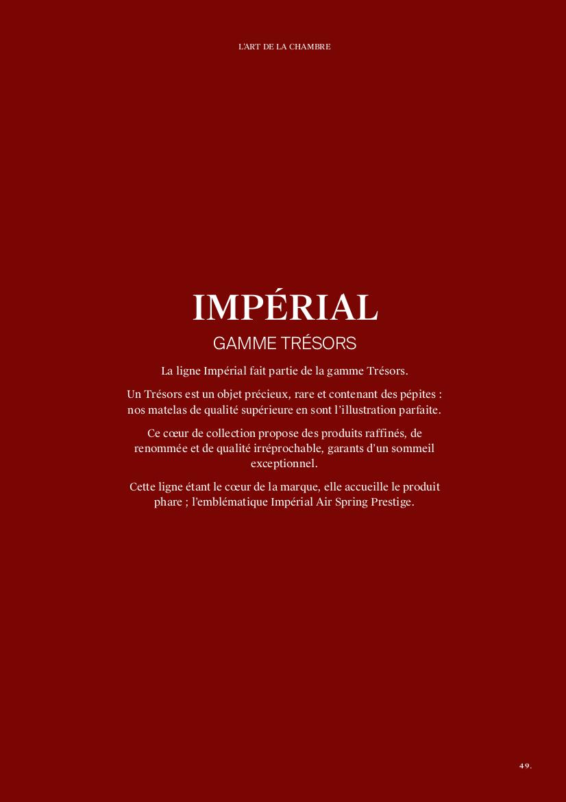 Catalogue Imperial gamme Trésors Treca