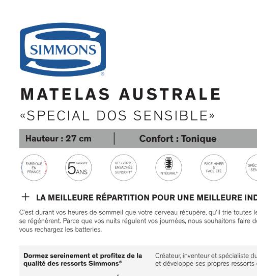 Matelas Australe SIMMONS