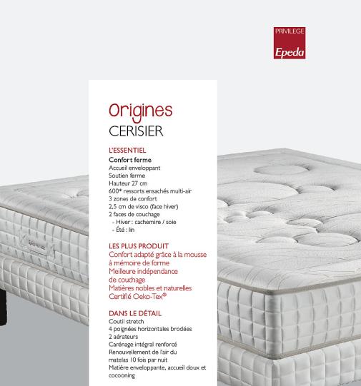 Matelas CERISIER Collection ORIGINES EPEDA