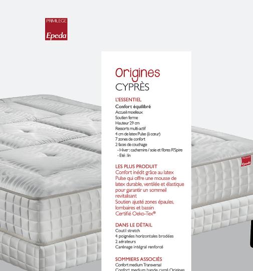 Matelas CYPRES Collection ORIGINES EPEDA