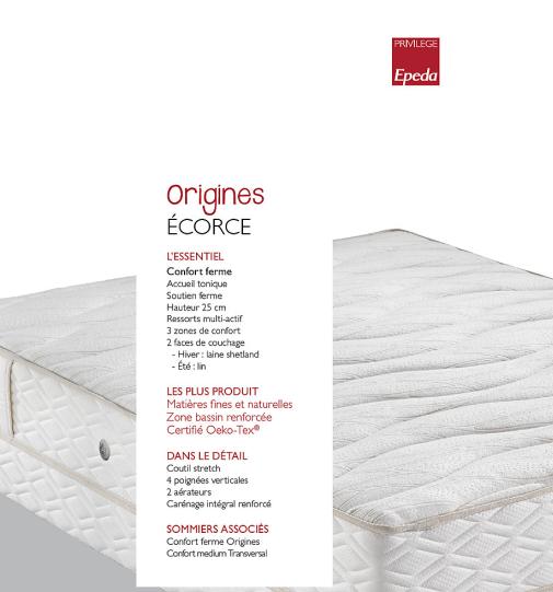 Matelas ECORCE Collection ORIGINES EPEDA