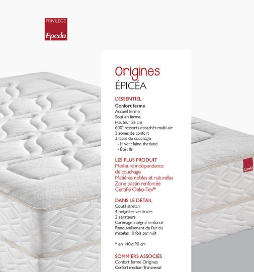 Matelas EPICEA Collection ORIGINES EPEDA