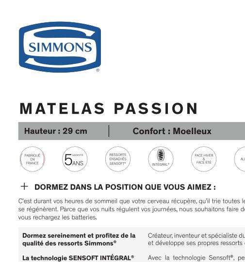 Matelas Passion SIMMONS