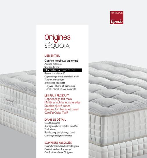 Matelas SEQUOIA Collection ORIGINES EPEDA