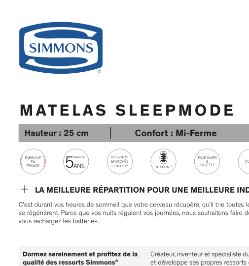 Matelas SleepMode SIMMONS